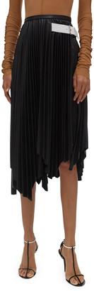 Helmut Lang Asymmetrical Pleated Leather Skirt
