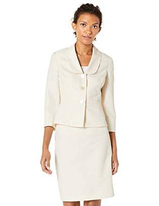 Le Suit Women's Shiny Diamond Jacquard 3 Button Shawl Collar Skirt Suit