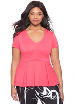 ELOQUII Plus Size Ponte V-Neck Peplum Top