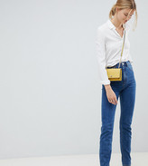 Asos Tall DESIGN Tall Recycled Farleigh high waisted slim mom jeans in flat blue