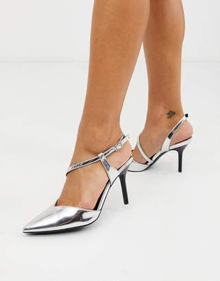New Look metallic cross strap heeled court shoes in silver