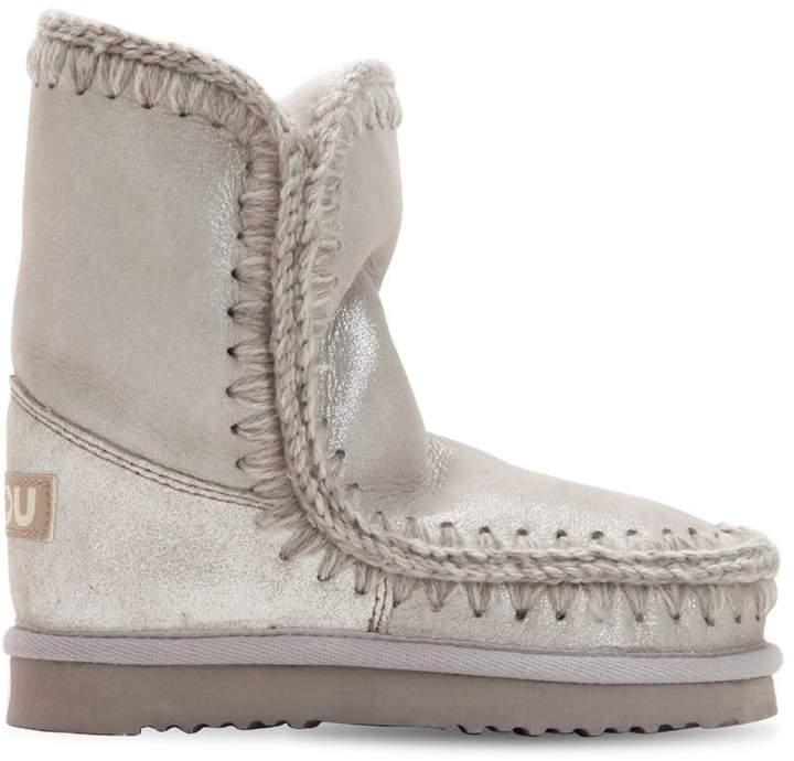 Mou Mini Eskimo Metallic Shearling Boots