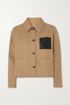 Salvatore Ferragamo Cropped Leather-trimmed Cotton And Linen-blend Jacket - Beige