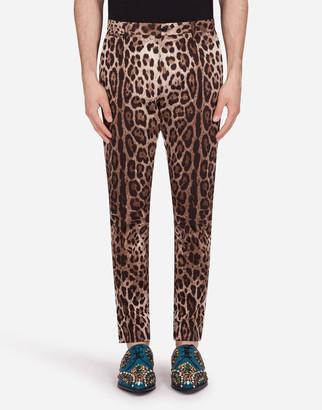 Dolce & Gabbana Cotton Stretch Pants With Leopard Print
