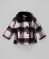 KC Collections Pink & Black Plaid Faux Fur Peacoat - Toddler
