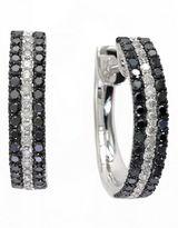 Effy 14k White Gold Diamond Black Diamond Earrings