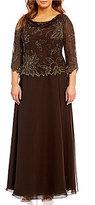J Kara Plus Floral-Beaded Chiffon Gown