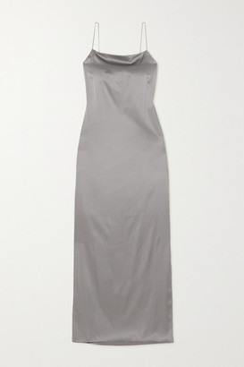 Helmut Lang Open-back Stretch-silk Satin Maxi Dress - Gray