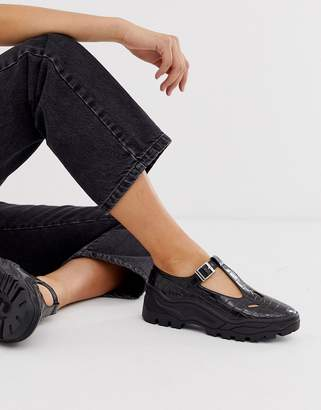 Asos Design DESIGN Music sporty mary jane flat shoes in black croc