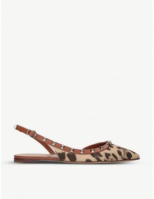 Valentino Rockstud Dorsay leopard-print leather slingback flats