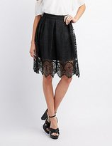 Charlotte Russe Embroidered Crochet Midi Skirt