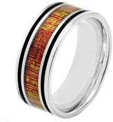 Ring Black Crucible Men's Stainless Steel Wood Inlay and Enamel Stripe Ring - Black