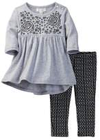 Jessica Simpson Brushed Jersey Embroidered Tunic & Legging Set (Baby Girls)