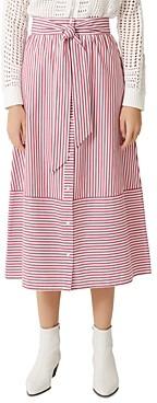Jousse Striped Tie Front Cotton Midi Skirt