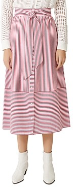 Maje Jousse Striped Tie-Front Cotton Midi Skirt