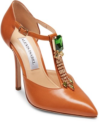 Alexis Isabel Bejeweled Baby Crystal Embellished Toffee Leather High Heels