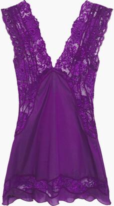 La Perla Lace-paneled Stretch-silk Voile Pajama Top