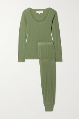 The Great The Ballet Pointelle-knit Cotton-blend Pajama Set - Army green