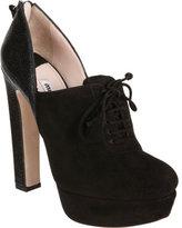 Miu Miu Pebbled Heel Lace-Up Ankle Boot