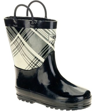 Forever Young Kids' Two Tone Plaid Print Tall Rain Boot