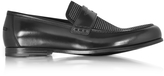 Jimmy Choo Darblay Shiny Black Leather and Suede Loafers w/Studs