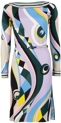 Emilio Pucci Long Sleeve Belted Print Dress