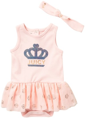Juicy Couture Heart Suit & Headband Set (Baby Girls 12-18M)