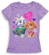 Asstd National Brand Paw Patrol Girls' Skye and Everest with Hearts Short Sleeve Graphic T-Shirt with Silver Glitter