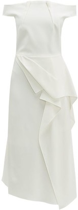 Roland Mouret Arch Draped-panel Crepe Midi Dress - Womens - White