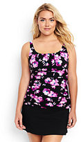 Lands' End Women's Plus Size Shaping Underwire Scoop Tankini Top-Black/Tropical Pink Blossoms