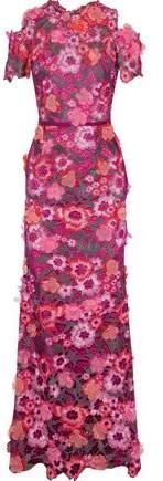 Marchesa Cold-shoulder Floral-appliqued Metallic Guipure Lace Gown