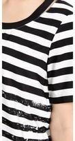 Tibi Distressed Stripe Cutout Tee