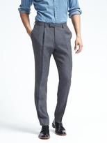 Banana Republic Standard Navy Houndstooth Linen Suit Trouser