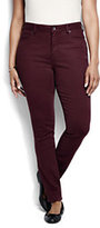 Lands' End Women's Plus Size Mid Rise Slim Jeans - Garment Dye-Earthen Brown Houndstooth
