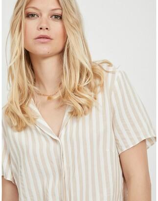 Vila Short Striped Tie-Front Blouse