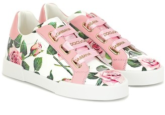 Dolce & Gabbana Kids Portofino floral leather sneakers