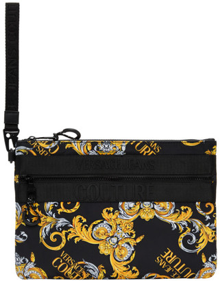 Versace Black and Gold Barrocco Logo Pouch