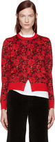 Comme des Garcons Red Wool Floral Cardigan