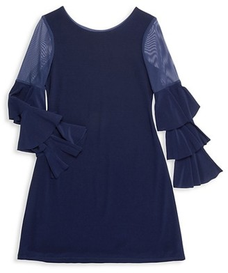 Un Deux Trois Girl's Ruffle Sleeve Shift Dress