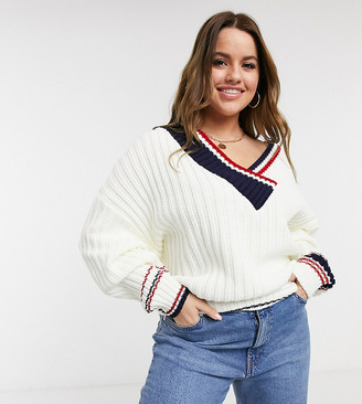 ASOS DESIGN Curve V-neck jumper in mixed stripe in cream