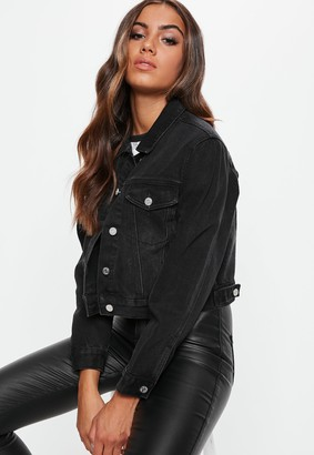 Missguided Petite Black Cropped Boxy Denim Jacket