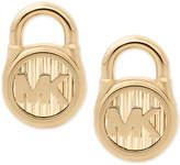 Michael Kors Stainless Steel Logo Padlock Stud Earrings
