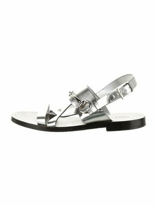 Gucci 1955 Horsebit Accent Leather Slingback Sandals Silver