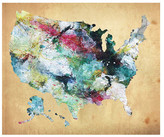 PTM Images USA Watercolor Map Giclee Box Wall Art - 20x24