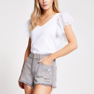 River Island Womens Petite Grey ripped mid rise denim shorts