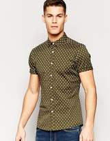 Asos Skinny Shirt With Polka Print In Khaki With Short Sleeves