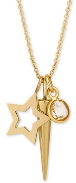 """Sarah Chloe Layered Charm Pendant Necklace in 14k Gold-Plate over Sterling Silver, 16"""" + 2"""" extender"""