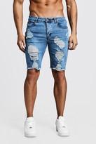 boohoo Mens Grey Skinny Fit Long Distressed Denim Shorts, Grey