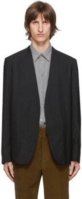 Maison Margiela Black Wool Popeline Collarless Blazer