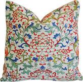 One Kings Lane Vintage Scrolling Lotus Flower Linen Pillow